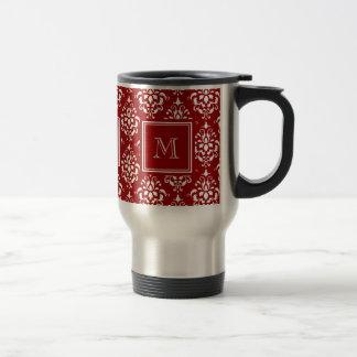 Red Damask Pattern 1 with Monogram Travel Mug