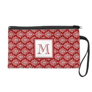 Red Damask Pattern 1 with Monogram Wristlet Purse