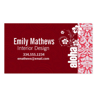 Red Damask Pattern; Aloha Double-Sided Standard Business Cards (Pack Of 100)