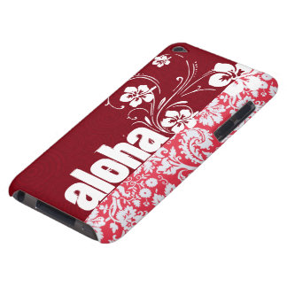 Red Damask Pattern; Aloha Barely There iPod Case
