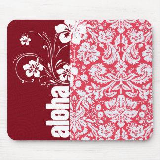 Red Damask Pattern Aloha Mouse Pad