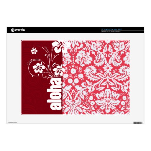 """Red Damask Pattern; Aloha Decal For 15"""" Laptop"""