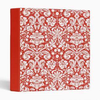Red damask pattern binder