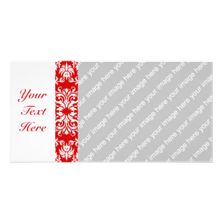 Red Damask Pattern + Custom Color Photo Card