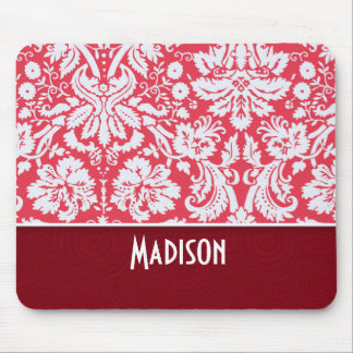 Red Damask Pattern Cute Mouse Pads