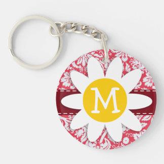 Red Damask Pattern; Daisy Acrylic Keychain