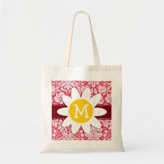 Red Damask Pattern Daisy Tote Bags