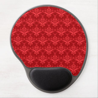 Red damask pattern gel mouse pad