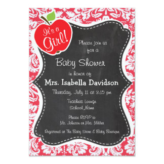 Red Damask Pattern; Gift for Teacher Personalized Invitation