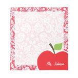 Red Damask Pattern; Gift for Teacher Memo Pad