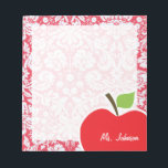 "Red Damask Pattern; Gift for Teacher Notepad<br><div class=""desc"">You will love this cute, red apple, teacher themed Red Damask pattern design! This red apple design is a great gift for the world&#39;s best teacher or professor! Visit our store, Monogram Baby, to view this cool, trendy pattern on many more customizable products, including modern teacher baby shower invitation postcards...</div>"