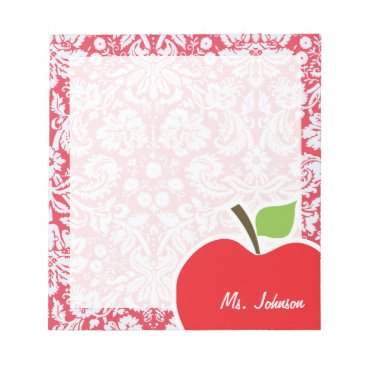 Toddler & Baby themed Red Damask Pattern; Gift for Teacher Notepad