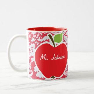 Red Damask Pattern; Gift for Teacher Two-Tone Coffee Mug