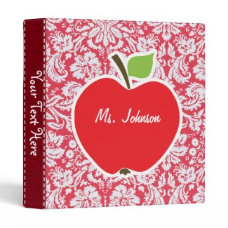 Red Damask Pattern; Gift for Teacher Vinyl Binder