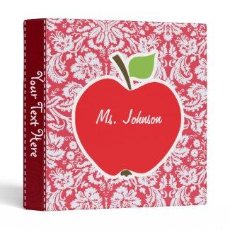 Red Damask Pattern; Gift for Teacher Vinyl Binder
