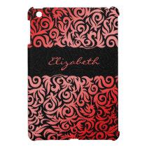 red damask pattern girly Ipad case