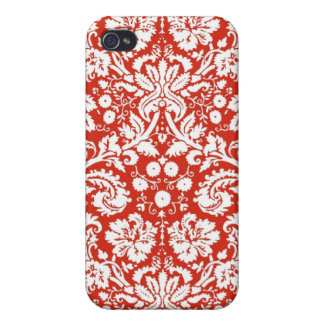 Red damask pattern cover for iPhone 4