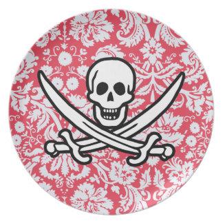 Red Damask Pattern Jolly Roger Dinner Plate