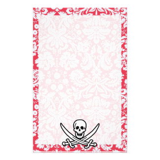 Red Damask Pattern Jolly Roger Customized Stationery