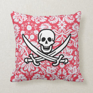 Red Damask Pattern Jolly Roger Throw Pillow