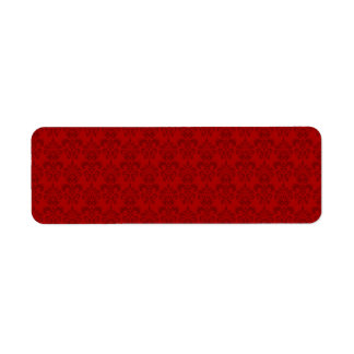 Red Damask Pattern Label