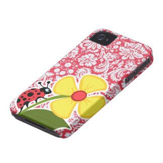 Red Damask Pattern; Ladybug iPhone 4 Case-Mate Case
