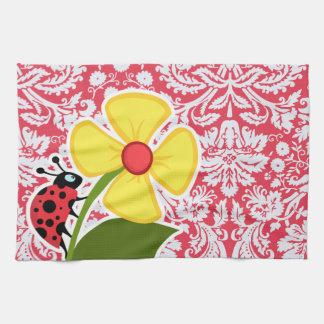 Red Damask Pattern; Ladybug Hand Towel
