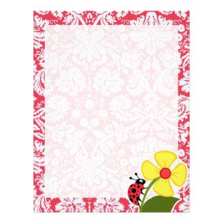 Red Damask Pattern; Ladybug Letterhead