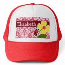 Red Damask Pattern; Ladybug Trucker Hat