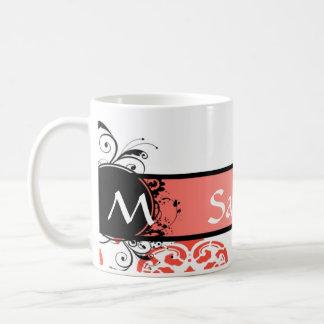 Red damask pattern monogram coffee mug