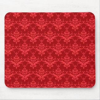 Red damask pattern mousepad