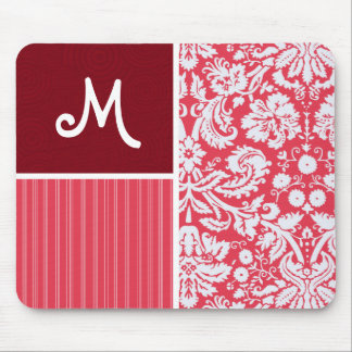Red Damask Pattern Mouse Pads