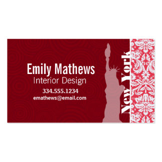 Red Damask Pattern; New York; Statue of Liberty Business Cards