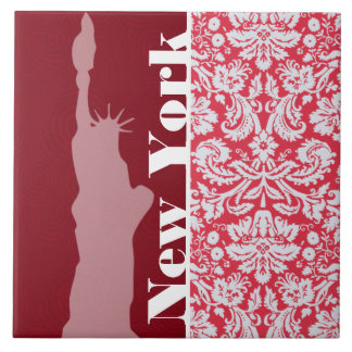 Red Damask Pattern; New York; Statue of Liberty Ceramic Tile