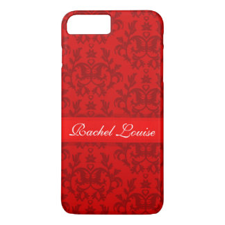 Red damask pattern personalized iphone case