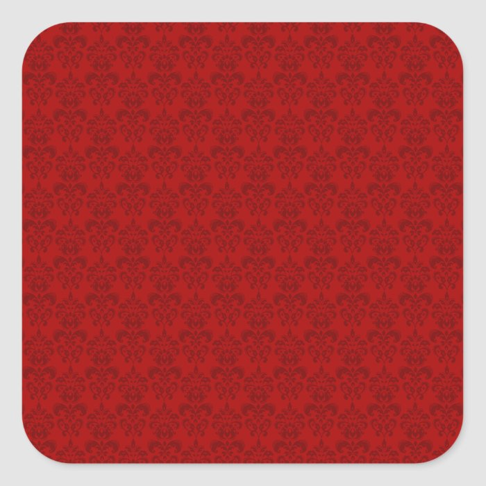 Red Damask Pattern Square Sticker