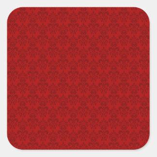 Red Damask Pattern Square Sticker