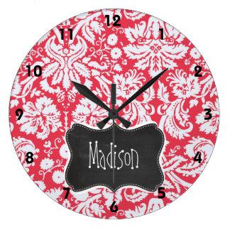 Red Damask Pattern; Vintage Chalkboard Large Clock