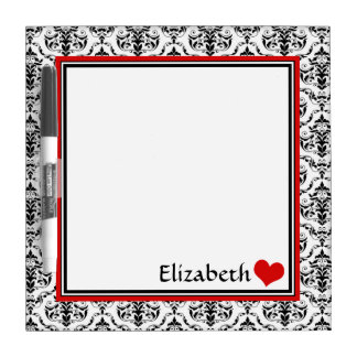 "Red Damask Personalized 8"" Dry-Erase Board"