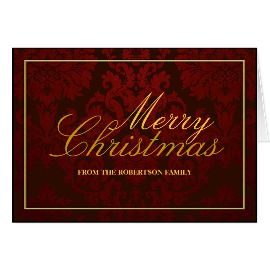 Red Damask Personalized Christmas Card