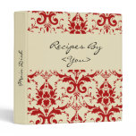 Red Damask Personalized Cook Book Recipe Binder