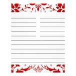 """Red Damask Personalized Matching Recipe Paper 8.5"""" X 11"""" Flyer"""