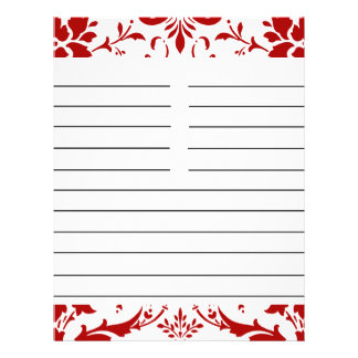 "Red Damask Personalized Matching Recipe Paper 8.5"" X 11"" Flyer"