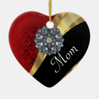 Red damask personalized mom ceramic ornament