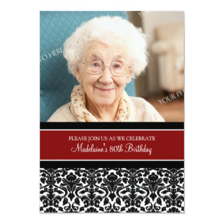 Red Damask Photo 80th Birthday Party Invitations