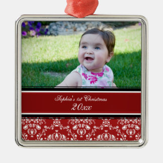 Red Damask Photo Baby's 1st Christmas Ornament