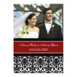 Red Damask Photo Elopement Announcement Cards