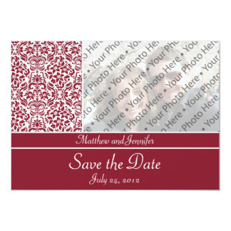 "Red Damask Photo Save the Date Announcement 5"" X 7"" Invitation Card"