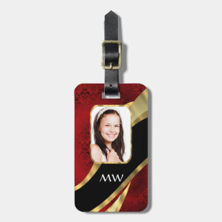 Red damask photo template luggage tag