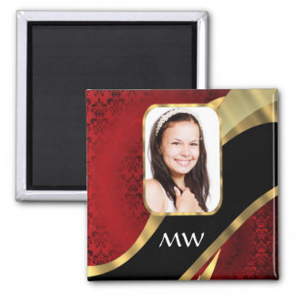 Red damask photo template magnet